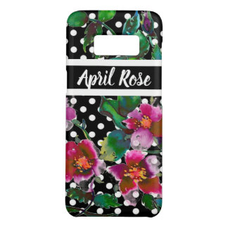 Vintage rose with black and white polka-dots Case-Mate samsung galaxy s8 case