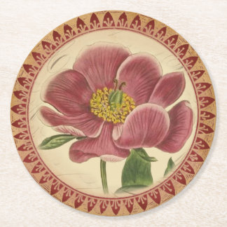 Vintage Rose With Burgundy Accents Round Paper Coaster