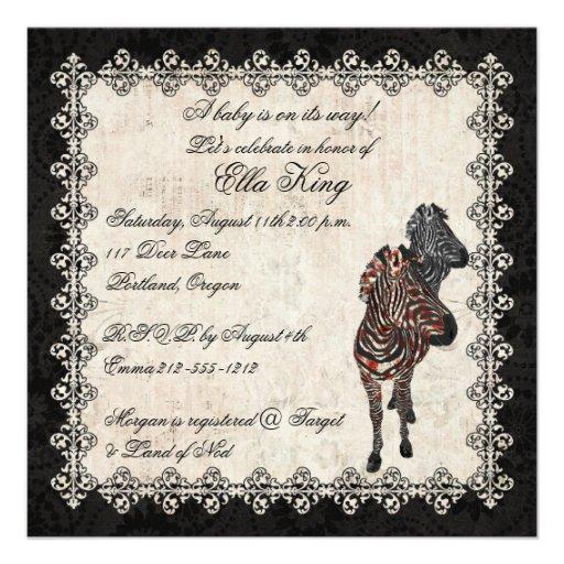 Vintage Rose Zebra Shadow Baby Invitation
