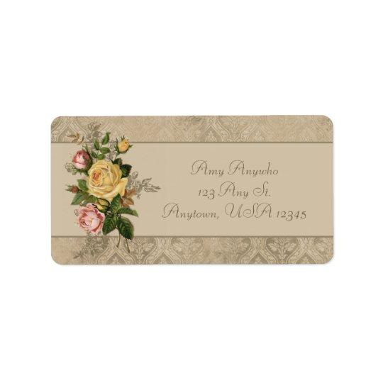 Vintage Roses and Damask Label