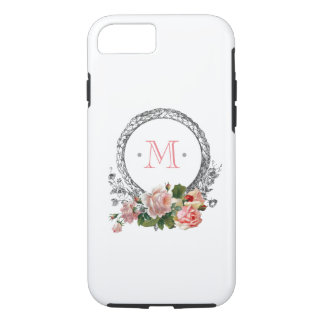 Vintage Roses and Engraved Frame Monogram iPhone 8/7 Case