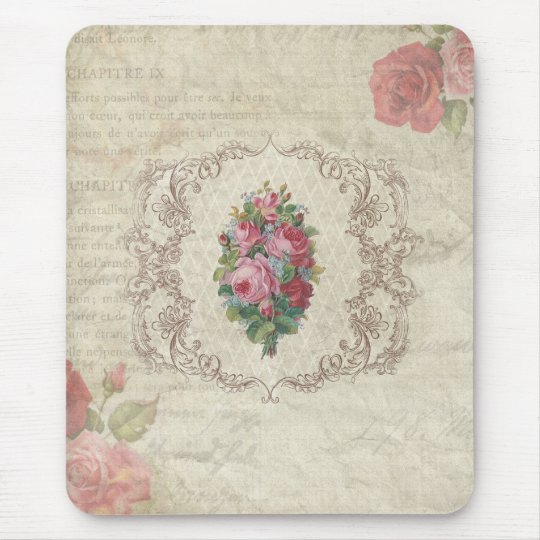 Vintage Roses and Engraving Mouse Mat