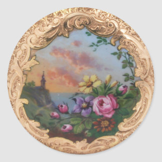 VINTAGE ROSES AND FLOWERS WITH LANDSCAPE ROUND STICKER