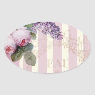 Vintage Roses and Lilac Oval Sticker