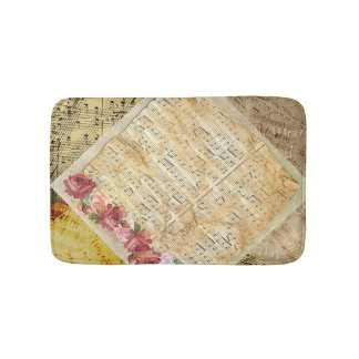 Vintage Roses and Musical Notes Sheet Music Bath Bath Mat