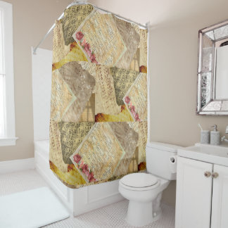 Vintage Roses and Musical Notes Sheet Music Shower Curtain