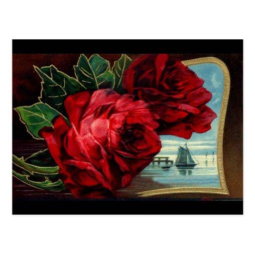 Vintage Roses and Sail Boat Post Card