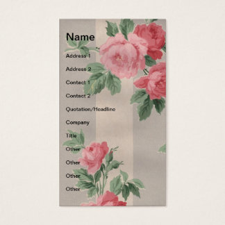 Vintage Roses and Vertical Lines Business Card