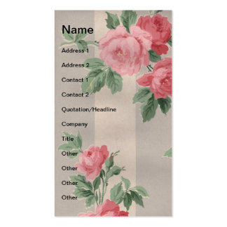 Vintage Roses and Vertical Lines Business Card Template