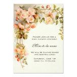 Vintage Roses, Antique Flowers, Floral Baby Shower 13 Cm X 18 Cm Invitation Card