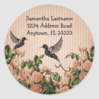 Vintage Roses & Artistic Hummingbird Address Label
