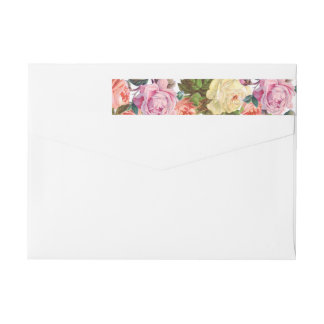 Vintage Roses Beautiful Floral Wedding Wraparound Return Address Label
