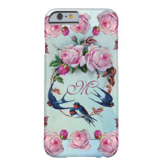 Vintage Roses, birds and Monogram Barely There iPhone 6 Case