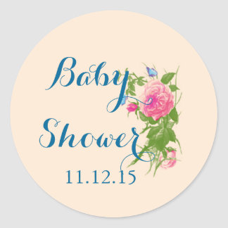 Vintage Roses Butterfly Baby Shower Sticker Round Stickers