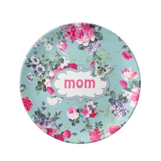 Vintage Roses & Butterfly Mother's Day Gift Plates