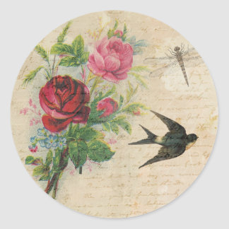 Vintage Roses Elegant Floral Bird Dragonfly Chic Classic Round Sticker