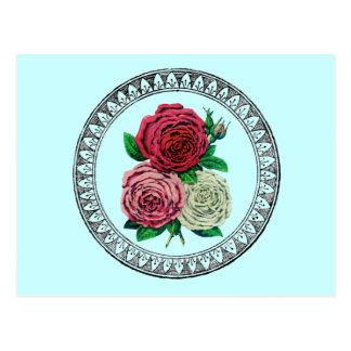 Vintage Roses Encircled with Medallion Postcard