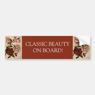 Vintage Roses Floral Art Bumper Sticker