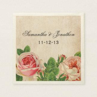 Vintage Roses Floral Custom Wedding Napkins Disposable Serviette