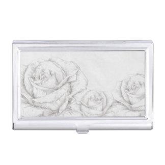 Vintage Roses Floral Grey Decorative Business Card Holder