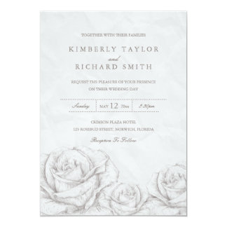 Vintage Roses Floral Grey Elegant Wedding Invite