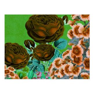 Vintage Roses Garden Postcard