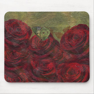 Vintage Roses Green Oil Painting Mouse Pad