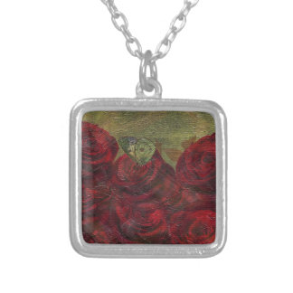 Vintage Roses Green Oil Painting Square Pendant Necklace