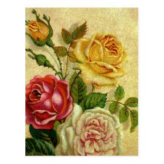 Vintage Roses Grunge Postcard