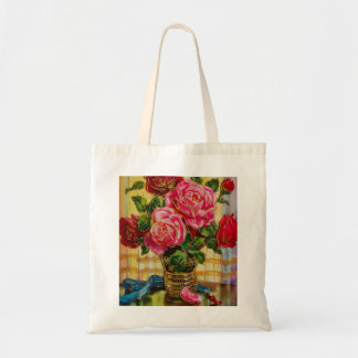 Vintage Roses In A Vase Canvas Bags