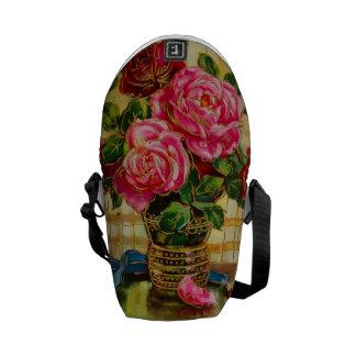 Vintage Roses In A Vase Messenger Bags