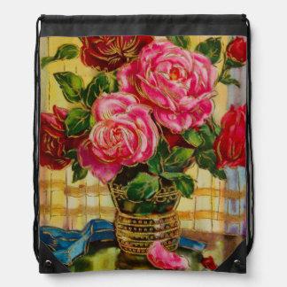 Vintage Roses In A Vase Backpack