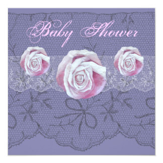 Vintage roses lace neutral baby shower invites