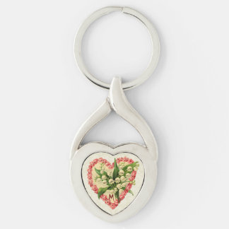 Vintage Roses & Lily-of-the-Valley Custom Monogram Silver-Colored Twisted Heart Key Ring