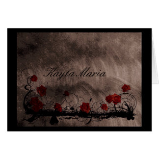 Vintage Roses Monogram Note Card