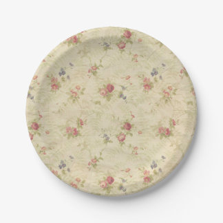 Vintage Roses old distressed fabric pattern 7 Inch Paper Plate