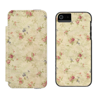 Vintage Roses old distressed fabric pattern Incipio Watson™ iPhone 5 Wallet Case