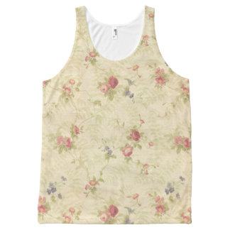 Vintage Roses old distressed fabric pattern All-Over Print Tank Top