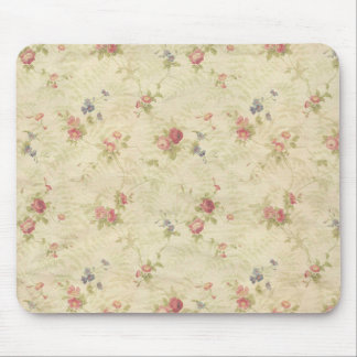 Vintage Roses old distressed fabric pattern Mouse Pad