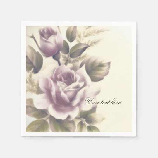 Vintage Roses Old Glamour Custom Elegant Party Paper Napkin