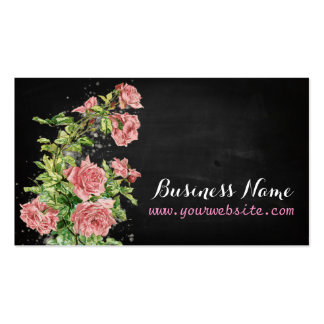 Vintage Roses on black chalkboard Business Card Templates