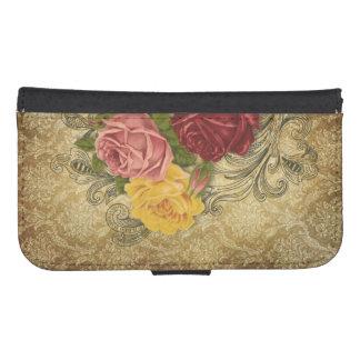 Vintage Roses on Gold Damask Samsung S4 Wallet Case
