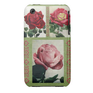 Vintage roses on retro patterns background Case-Mate iPhone 3 cases