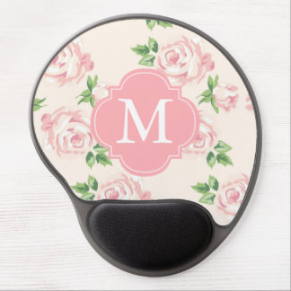 Vintage Roses Pattern and Pink Monogram Gel Mouse Pad