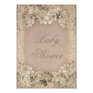 Vintage Roses Pearls and Lace Baby Shower Card
