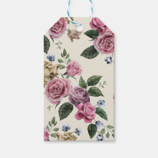 Vintage Roses Pink & Lavender Flowers Shabby Chic Gift Tags