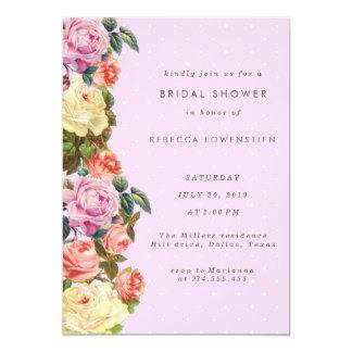 Vintage Roses Pink Polka Dots Bridal Shower 13 Cm X 18 Cm Invitation Card
