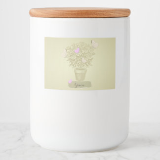 Vintage Roses Pot and Butterflies Food Label