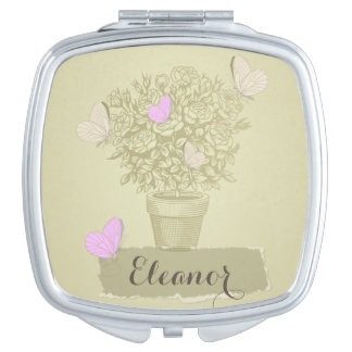 Vintage Roses Pot and Butterflies Mirror For Makeup