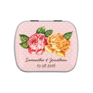 Vintage Roses Save the Date Tin Jelly Belly Tin